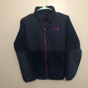 The north face Denali jacket blue/pink girls Large
